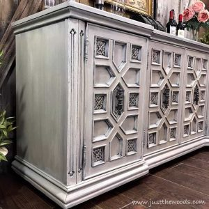 painted-layers, chalk paint, pure home paint, cream and gray, white and gray, painted furniture