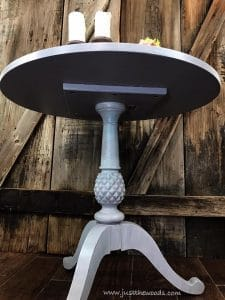 pineapple-accent-table, round painted table, just the woods, painted furniture