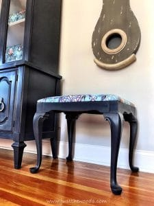 purple-gray-painted-bench, painted stool, painted bench, cushioned seat with painted legs, chalk paint, purple paint
