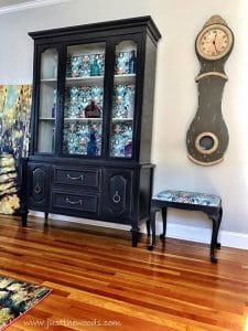 purple-painted-china-cabinet, painted accent seat, mora clock, new york, just the woods