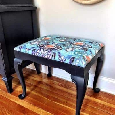Reupholstered and Painted Vanity Seat