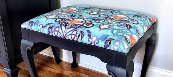 painted vanity seat, reupholstered seat cushion