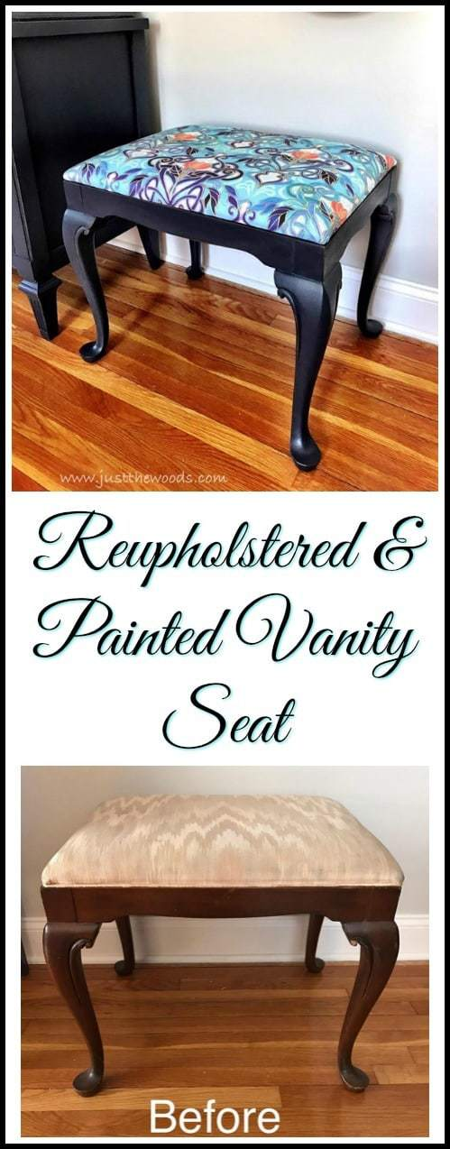 A reupholstered and painted vanity seat makeover is a perfect addition to an entire living room makeover. This painted vanity seat is a perfect accent piece #paintedvanityseat #reupholstery #upholstery #simpleupholstery #vanityseat #paintedfurniture