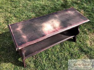 sanded-bench, electric sander, painted bench, ballard designs bench