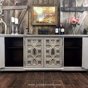side-storage, vintage buffet, painted ornate furniture, painted buffet, cream and gray