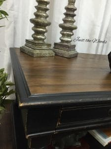 stain-and-paint, chalk paint, graphite, pure home paint, black distressed, distressed coffee table