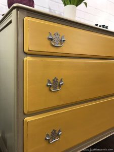taupe-and-yellow-silver-hardware, yellow painted dresser, painted dresser, new york, nyc, just the woods