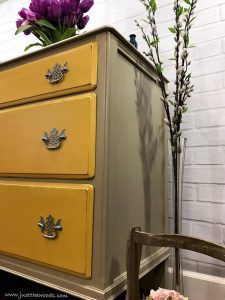 taupe-painted-dresser-with-yellow, chalk paint, shabby chic, distressed, taupe paint