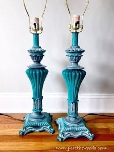 teal-painted-lamp-bases, painted furniture blog, painted lamps, staten island