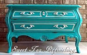 that-sweet-tea-life-teal-bombe, painted bombe chest, teal furniture, general finishes, chalk paint