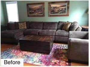 unfinished-living-room, living-room-before, neutral sage living room, large brown sofa