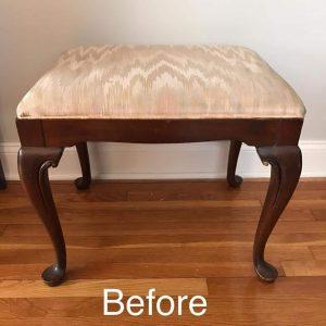 Strange Painted Vanity Seat With Reupholstered Fabric Cushion Evergreenethics Interior Chair Design Evergreenethicsorg