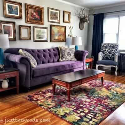 Eclectic & Colorful Living Room Makeover Room Reveal