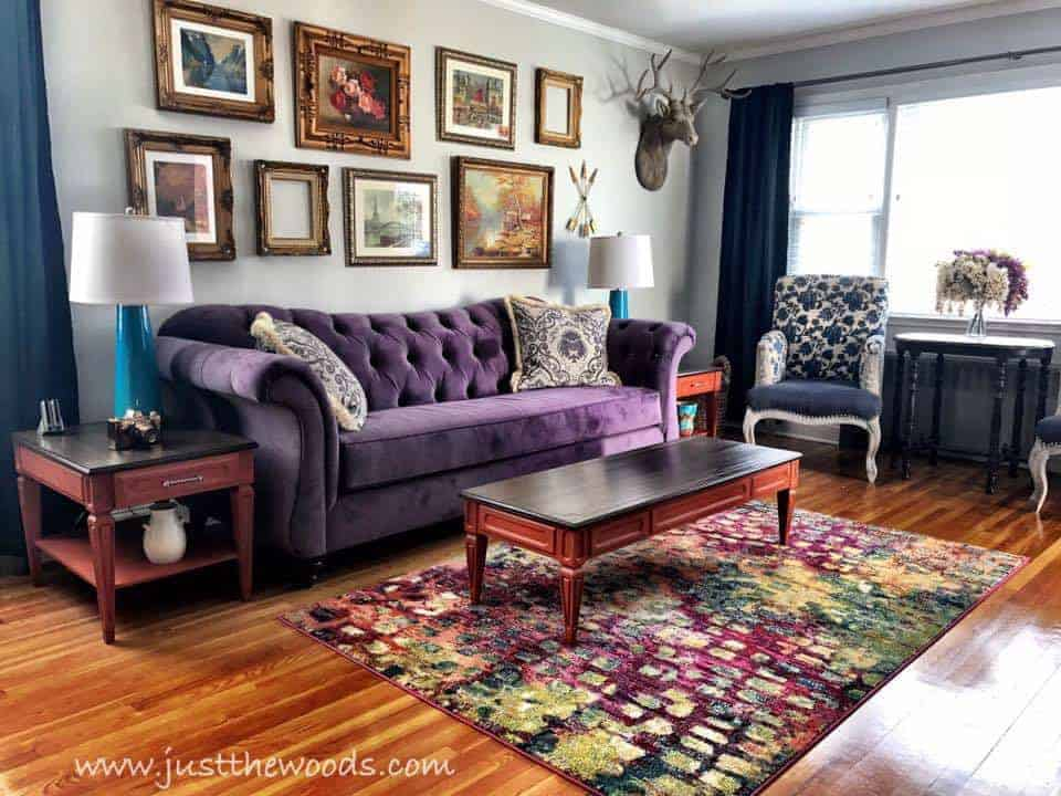 paint lamps, bold living room, purple sofa