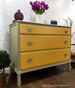 vintage-painted-taupe-dresser-yellow-drawers, taupe chalk paint, yellow chalk paint, pure home paint, non toxic paint,