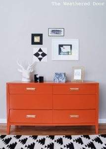 Weathered Door Perssimon Orange Dresser, Orange Painted Dresser, Bold  Painted