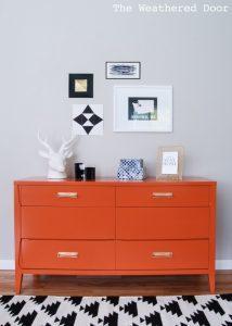 weathered-door-perssimon-orange-dresser, orange painted dresser, bold painted furniture, colorful painted dresser, mcm