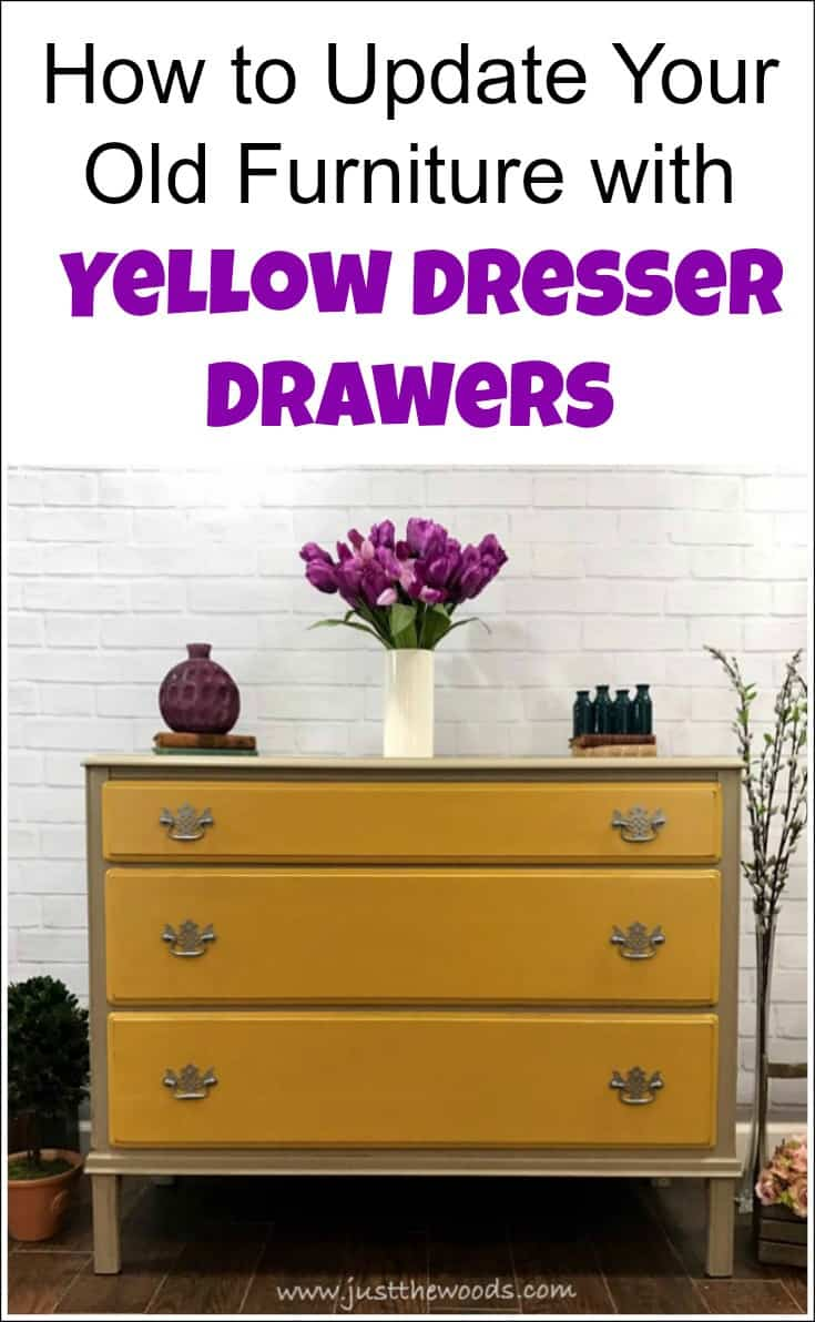 Yellow dresser drawers add just enough color to a painted furniture update without being over the top. Yellow furniture can be bold or neutral depending on which direction to take. This vintage dresser painted in mustard yellow with neutral taupe keeps the makeover neutral. | yellow dresser | mustard dresser | yellow furniture | yellow bedroom furniture | yellow painted dresser | mustard yellow dresser | yellow chest of drawers, |  yellow vintage dresser | painting furniture yellow