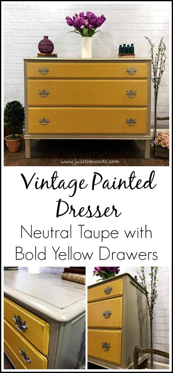 yellow-painted-drawers-on-dresser, vintage painted dresser