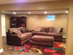 living-area, Concrete to Complete - a basement remodel, basement makeover, finished basement