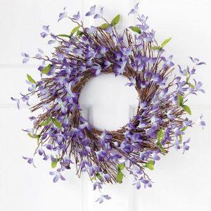 spring-floral-forsythia-twig-wreath, spring blooms, wreath, door wreath
