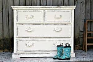 white-distressed-paint, shabby chic dresser, distressed painted furniture