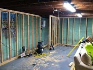 basement, unfinished basement, framing walls, concrete basement, basement makeover ideas
