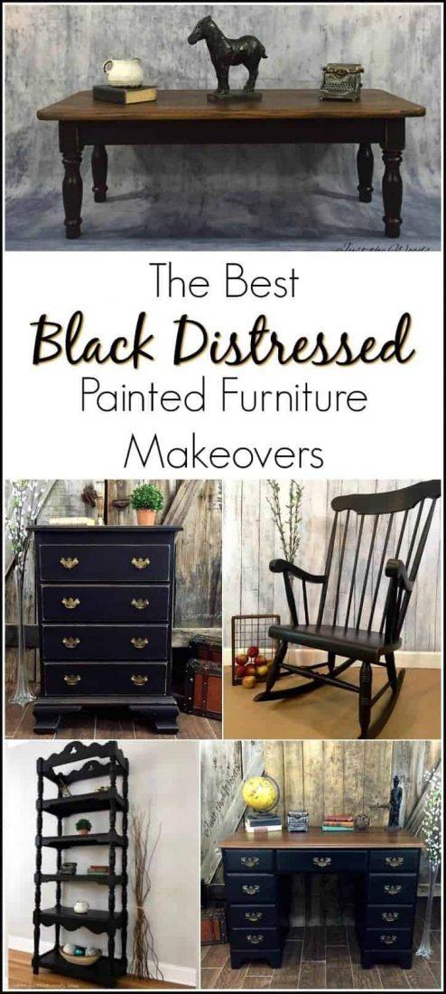 best-black-distressed-painted-furniture, black distressed painted furniture, just the woods