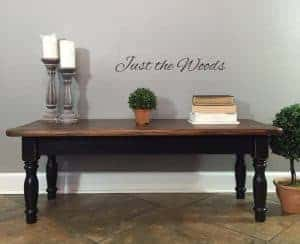 black-distressed-coffee-table, painted furniture, black paint, chalk paint