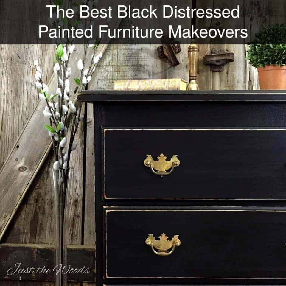 create a black painted finish, black distressed, painted furniture