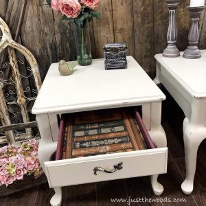 chalk-painted-table-drawers, dixie belle, just the woods, creamy white, staten island