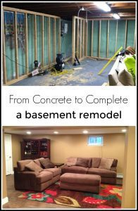 concrete basement remodel, basement makeover, basement before and after