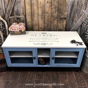 cream-and-blue-painted-furniture, painted media console, new york, painted furniture