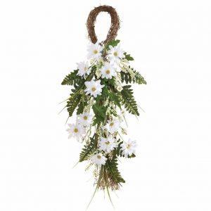 daisy-floral-teardrop-door-swag, floral door swag, door floral, spring decor