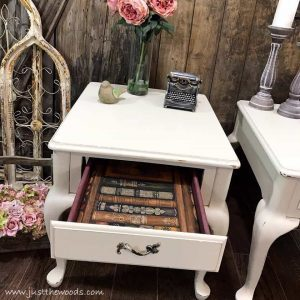 dixie-delle-drop-cloth, painted tables, painted end tables, just the woods