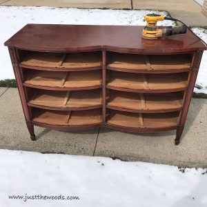 electric-sander-to-dresser, farmhouse style, painted furniture, staten island