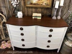 farmhouse-dresser-painted-white-with-stain, white painted furniture, painted dresser, drexel