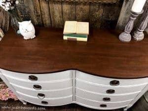 farmhouse-wood-stain-dresser, chestnut wood stain