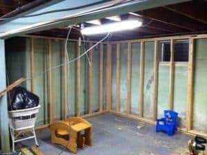 frame-walls-in-basement, basement remodel, makeover