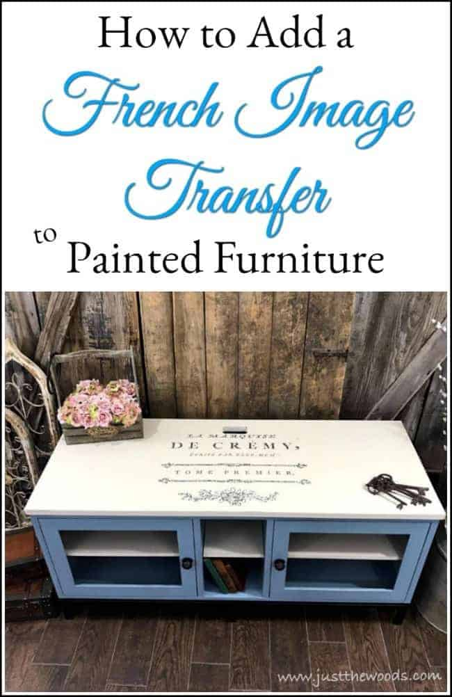 Painted Media Console with French Image Transfer by Just the Woods
