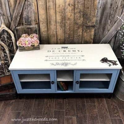 Painted Media Console with Image Transfer