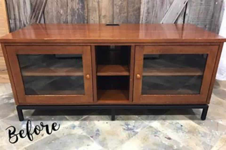 Painted Media Console with French Image Transfer, modern ethan allen media console, tv stand, before paint, unfinished, glass doors