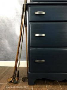 navy-blue-mens-dresser, vintage golf clubs, mens dresser, painted dresser