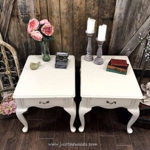neutral-painted-end-tables, white painted furniture, chalk paint