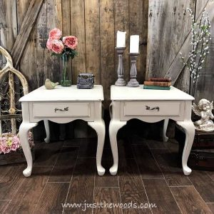 off-white-chalk-painted-tables, dixie belle, shabby chic painted tables, curvy legs, just the woods