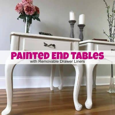 Painted End Tables with Removable Drawer Liners