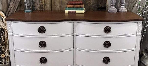 white painted furniture, farmhouse style, stain top