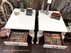 painted-end-tables-lined-with-wallpaper, lined drawers, painted tables, queen anne tables