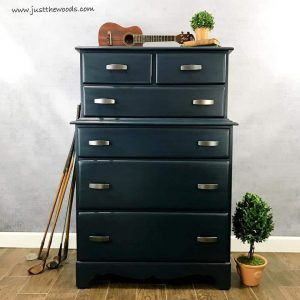 how to paint a masculine blue dresser for a man by just the woods