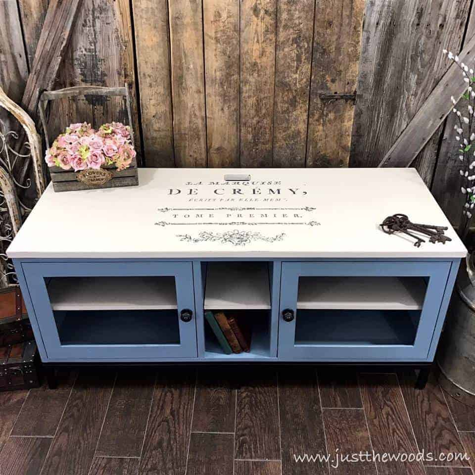 tv stands, tv stand, media stand, media console, modern ethan allen tv stand painted baby blue and off white with french word image transfer on top, shabby chic, staten island, new york